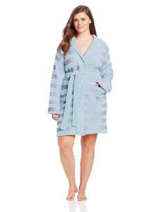 Casual Moments Women's Plus-Size Marshmallow Hooded Wrap Robe at Amazon Women's Clothing store: $40.60