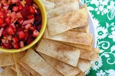Annie's Fruit Salsa & Cinnamon Chips *GREAT* made 9/19/12 2 kiwis (peeled and diced)  2 golden delicious apples (- peeled cored and diced)  8 ozs raspberries  1 lb strawberries  2 tbsps white sugar  1 tbsp brown sugar    3 tbsps preserves (fruit, flavor)  10 flour tortillas (10 inch)  butter flavored cooking spray  2 tbsps cinnamon sugar