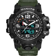Men's LED Tactical Sport Digital Alarm Waterproof Stopwatch Military Wrist Watch