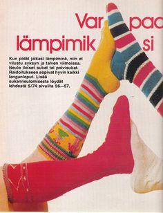 Pitkät raidalliset villasukat Suuri Käsityökerho 9/1977