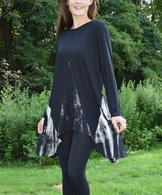2a3fab003d Another great find on  zulily! Black  amp  White Tie-Dye Sidetail Tunic