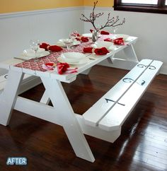 So stinkin cute, when we moved into our house Danny and I bought a picnic table for the diningroom but it dominated it.  Been on the lookout for the perfect one ever since.
