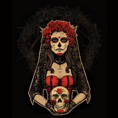 Day Of The Dead Art | Day of the Dead, Lady in Red by *Design-By-Humans on deviantART