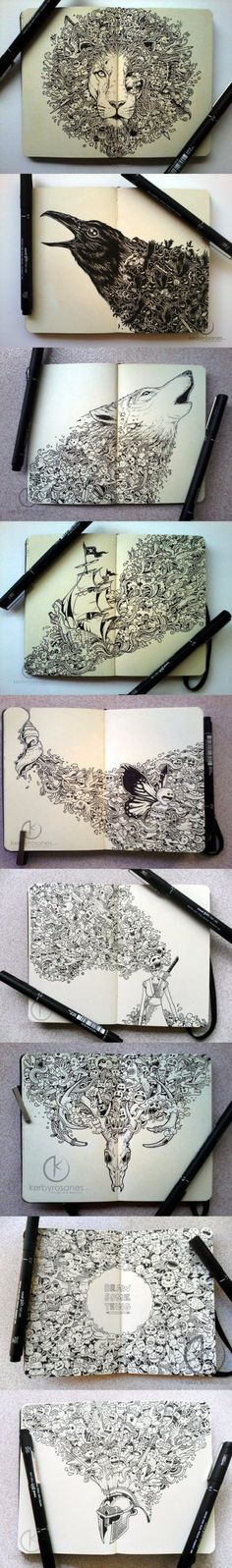 art sketch book pen and ink illustrations