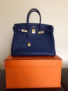 BLUE SAPPHIRE BIRKIN HERMES 35CM BLEU SAPHIR BAG GOLD GHW