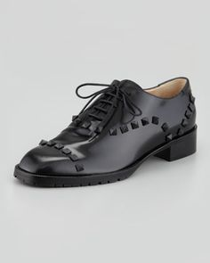 Rockstud Leather Oxford by Valentino at Neiman Marcus. (Hubby says if I make over $1000 a day I can buy these shoes or a pair of Christian Laboutin!)