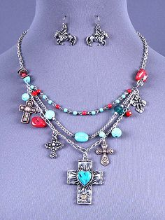 Cowgirl Bling Ranch, LLC - Western Cross Charm Necklace and Earrings Set, $13.99 (http://www.cowgirlblingranch.com/western-cross-charm-necklace-and-earrings-set/)