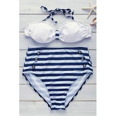 SHARE & Get it FREE | High Waisted Women's Charming Six Buttons Cross Stripe SwimsuitFor Fashion Lovers only:80,000+ Items·FREE SHIPPING Join Dresslily: Get YOUR $50 NOW!