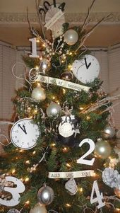 After Christmas I turned my tree into a New Years Eve tree by adding clocks, sayings, count-down numbers and I made top hats! After Christmas I turned my tree into a New Years Eve tree by adding clocks, sayings, count-down numbers and I made top hats! Backyard Party Decorations, New Years Decorations, Decoration Table, Tree Decorations, Christmas Decorations, New Years Eve Day, New Years Tree, New Years Party, New Years Eve Party Ideas For Adults