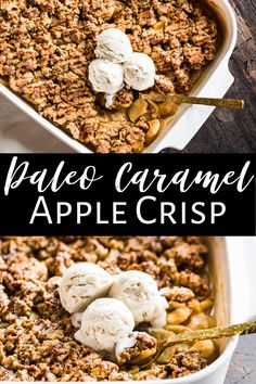 This Paleo Caramel Apple Crisp is made without oats and is super decadent but still a healthy treat recipe. It's also natually gluten free and dairy free as well as easy to make. It's made from real food ingredients with no refined sugar, and perfect for family dinners, Thanksgiving, or Christmas! #applecrisp #healthy #paleo #glutenfree #dairyfree #glutenfreedessert Paleo Dessert, Gluten Free Desserts, Healthy Desserts, Dessert Recipes, Healthy Recipes, Caramel Apple Crisp, Caramel Apples, Fall Recipes, Real Food Recipes