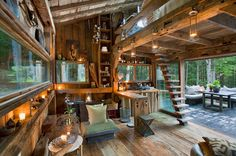Scott Newkirk's Off Grid Cabin love the lighting and open space