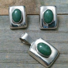 "Sterling & Jade set Very old Sterling and Jade earring and pendant set. Stamped 950, this set is from the 60's One full ounce of silver, weighs 31.05 grams Pendant with bale measures 1 1/2"", earrings about an inch. Jewelry Earrings"