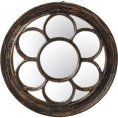 Add a rustic touch above your entryway console or to a living room gallery wall with this stylish mirror, showcasing a reclaimed wood frame and  floral-inspi...