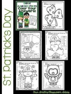 50% Off for the First Two Days! St. Patrick's Day Fun! Basic Addition Facts - Color Your Answers Printables! FIVE No Prep Printables that can be used for your math center, small group, RTI pull out, seat work or homework. #TPT {$paid}