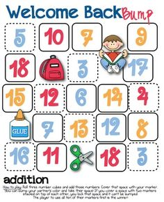 Here are two back-to-school themed bump games, one for addition and one for multiplication. Also includes a blank version.