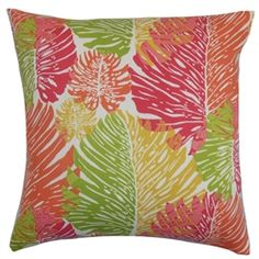 """The bright shades of green, pink, orange, yellow against a white background on this accent pillow will totally turn your living space from boring to daring. This outdoor throw pillow is a welcoming decor piece to add in your patio or cabana. This 18"""" pillow is plush, and it instantly lends comfort to your outdoor furniture. This square pillow coordinates well with other accessories. Made of water-resistant and UV-protected materials. $55.00 #pink #pillows #homedecor"""