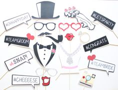 21pc Hashtag Wedding Photo Booth Props by ThePartyGirlStudio on Etsy