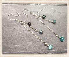 Long seed pearl earrings seed pearl dangle by catchmearainbow