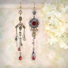 Weeping Rose - Romantic Asymmetrical Chandelier Earrings, Red Rose, Garnets, Cubic Zirconia, Shell, Pearls by MiaMontgomery on Etsy