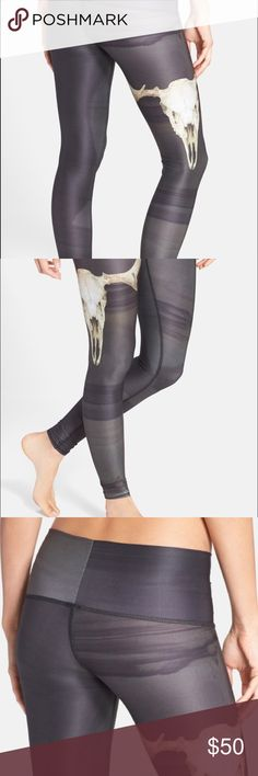 """Deer medicine hot pant teeki leggings eco-conscious yoga leggings made in part from recycled plastic bottles. An ultra-wide, elastic-free waistband and chafe-resistant 27"""" inseam; 8"""" leg opening; 8 1/2"""" front rise; 12"""" back rise (size Medium). Four-way stretch fabric offers maximum stretch for a wide range of motion. Moisture-wicking fabric dries quickly to keep you cool and comfortable. 79% PET (polyethylene terephthalate), 21% spandex. Hand wash cold, line dry. By teeki; made in the USA…"""