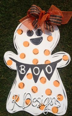 BOO Ghost Girl - Wooden Halloween decoration - wooden halloween door decor - door hanger. $40.00, via Etsy.
