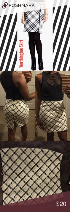 Worthington Tweed Plaid Skirt The first pic is a worthington skirt, but not the same style i am selling. Mine is shown in the other photos. Barely worn, classy, and has a slit in the back. The beaded blouse I am wearing is by Zara 😁 Worthington Skirts