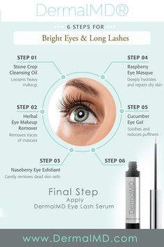 Follow these steps and your eyelashes will grow. Last step is the DermalMD Eyelash Serum. It works by stimulating eyelash growth from the root. Users report amazing results with this. Dry Eyes Causes, Cucumber On Eyes, Eminence Organics, Long Lashes, False Lashes, Healthy Eyes, Eye Infections, Fotografia