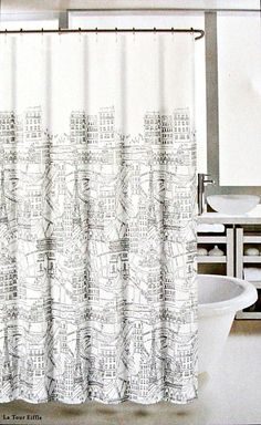 "Love this Nicole Miller white cotton blend shower curtain, 72"" x 72"", with black design of street scene in Paris France called La Tour Eiffel! You can redecorate your entire bathroom around this contemporary piece of artwork."