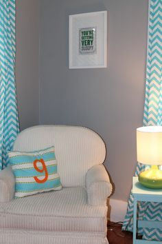 Project Nursery - Bright and Modern Orange, Turquoise, Gray Nursery Glider and Chevron Curtains