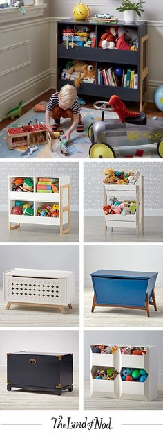 What type of kids furniture clears up any mess? The answer is a toy box! It's the perfect storage option for holding toys and all their essentials. The Land of Nod's lineup of colorful toy boxes will feel right at home in a kids bedroom or even a playroom Kids Storage, Toy Storage, Craft Storage, Storage Units, Storage Ideas, Casa Kids, Kids Toy Boxes, Toy Rooms, Baby Kind