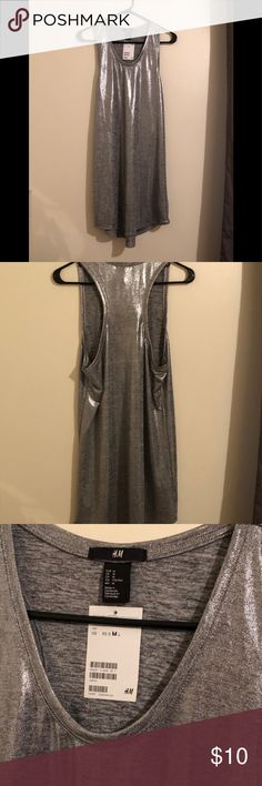 H&M Silver Metallic Dress Brand new with tags. Racerback tank dress. Size medium. On Vinted for $7. H&M Dresses Mini