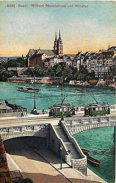 Basel Switzerland 1908 Middle Rhine Bridge Munster Trolleys Vintage Postcard - Moodys Vintage Postcards - 1