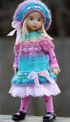 "Spring Colors Hand Knitted Dress Set For 13"" Effner Little Darling by Barbara #DiannaEffner. SOLD BIN for $76.70 on 2/14/15"