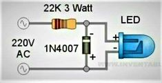 Led glow on ac Electronics Projects, Simple Electronics, Electronic Circuit Projects, Hobby Electronics, Electronic Engineering, Electrical Engineering, Electronics Gadgets, Led Projects, Electrical Projects