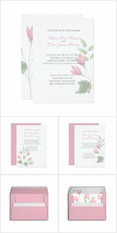 Watercolor Rose Buds Wedding. A collection of watercolor rosebuds wedding invitations and accessories.  #ad
