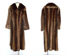 Chevron Bistre fur coat / vintage raccoon by BreesVintageBoutique