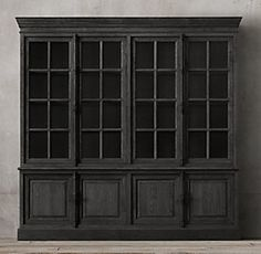 RH's French Casement Sideboard & Hutch:Panel doors and fine crown molding give our solid hardwood collection the gravitas of classic French furniture. Furniture Vanity, French Furniture, Painted Furniture, Black Hutch, Glass Sideboard, Painted Hutch, Dining Room Hutch, Dining Area, French Architecture