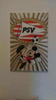schilderij gemaakt voor Mickey en PSV liefhebbers 40x60 cm
