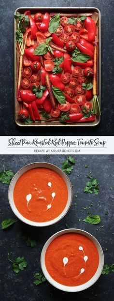 Sheet Pan Roasted Red Pepper Tomato Soup - a gorgeous, fire-engine-red soup with super-charged flavor, thanks to slow roasting the vegetables in the oven. Healthy, beautiful, delicious - everything you want in a soup! Recipe at http://SoupAddict.com   veg