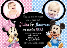 Minnie Mouse Mickey Mouse Baby One Twins First Birthday Party Invitation - Digital File on Etsy, $8.99