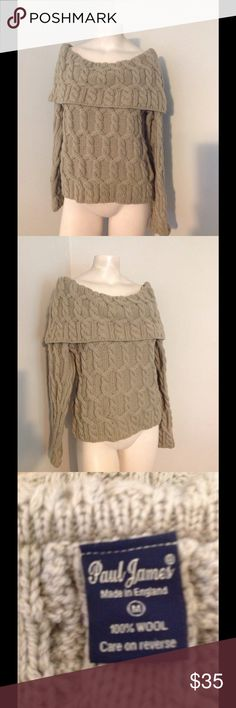 Paul James Green Cable Knit Off Shoulder Sweater Beautiful sweater by Paul James - made in England. Odd shoulder style - 100% wool in size Medium. Great condition. Color is a shade brighter green than photos. Paul James Sweaters