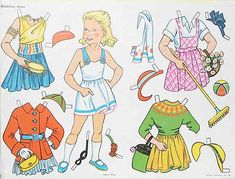 """""""Mädchen Anne""""  (Girl Anne)  ~  Puppen-Ausschneidebogen  (Paper Dolls)  German"""