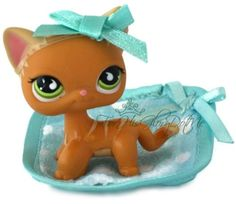 Littlest Pet Shop✵LPS 525✵ORANGE YELLOW STRIPPED KITTY CAT✵Rare Green Eyes✵Bow