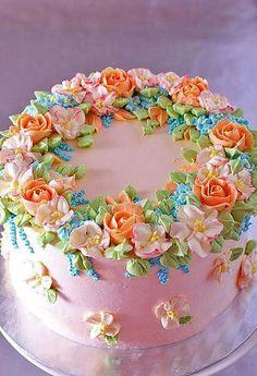 """Spring"" cake with buttercream flowers - La Zina Cakes Gorgeous Cakes, Pretty Cakes, Amazing Cakes, Super Torte, Cupcakes Decorados, Buttercream Flower Cake, Buttercream Cake Designs, Spring Cake, Specialty Cakes"