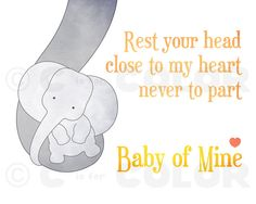 Baby Elephant Nursery Art Print yellow and gray