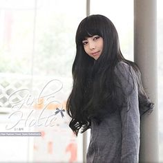 Amazon.com : Ainiel Korean Style Bangs Curly Wavy Natural Looking Charming Sexy Hair Full Wigs Long Black Brown (Black) : Beauty