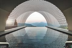 In Soprabolzano, Italy, the rooftop infinity pool at the Gloriette Guesthouse by. - In Soprabolzano, Italy, the rooftop infinity pool at the Gloriette Guesthouse by NOA* Network of Ar - Water Architecture, Futuristic Architecture, Architecture Photo, Amazing Architecture, Architecture Interiors, Sustainable Architecture, Infinity Pool, Century Hotel, 21st Century