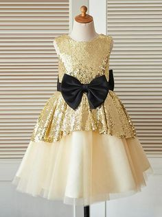 737bbd1543 Gold Round Neck Sleeveless Sequin Flower Girl Dresses With Bow