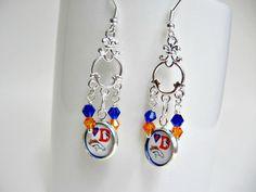 Denver Broncos Football Earrings by SportsJewelryStudio on Etsy.  etsy.com/shop/sportsjewelrystudio.  $16.50.  #EtsyGifts