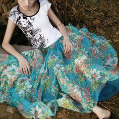 #Swanmarks Liebo New 7m Chiffon Expansion Long Skirt Dress
